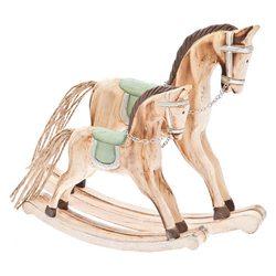 Koník houpací s tyrkysovým sedlem, 19x15x3 cm, dře