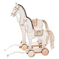 Koník na kolečkách bílý se zlatou hnězdou, 23x13x7