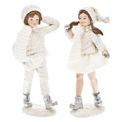 Chlapec Zimy v bílém a šálou, 17x8x4 cm, polyresin