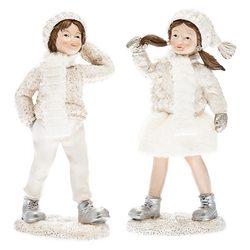 Chlapec Zimy v bílém a šálou, 13x6x4 cm, polyresin