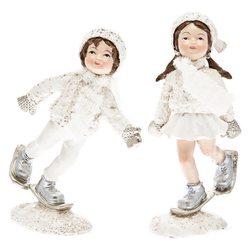 Dívka zimy v bílém se sněžnicemi, 10x4x3 cm, polyr