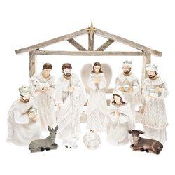 Betlém se všemi v bílém, volný, 14x7x18 cm, polyre