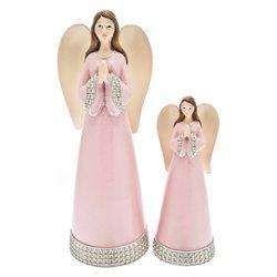 Anděl v růžových šatech se stříbrným lemem, 7x7x18