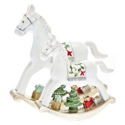 Koník houpací se stromeřkem a dárky, 17x17x4 cm, p