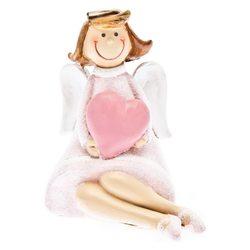 Anděl Ruzo se srdcem sedící, 6x5x8 cm, polyresin