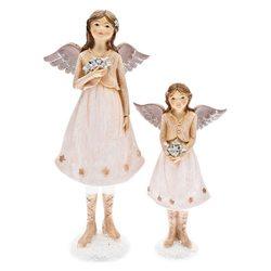 Anděl Mili s hvězdami, 10x6x23 cm, polyresin