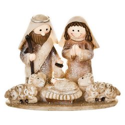 Josef s Marií a ovečkami, 4x8x6 cm, polyresin