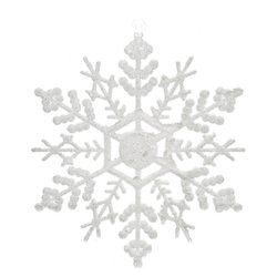 Ozdoba Akryl vločka bílá hustá, set 4 ks, 0.5x13x1