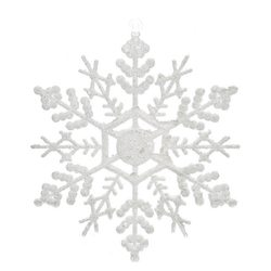 Ozdoba Akryl vločka bílá hustá, set 10 ks, 0.5x13x