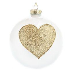 Ozdoba Baňka bílá se zlatým srdcem, 10x10x11 cm, s