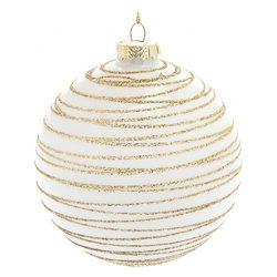 Ozdoba Baňka bílá se zlatými linkami, 10x10x11 cm,