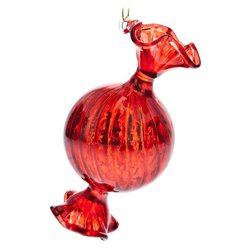 Ozdoba Baňka bonbon kulatý červený, 5x5x10 cm, skl