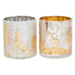 Svícen Les stříbrozlatý praskaný, 9x9x10 cm, sklo