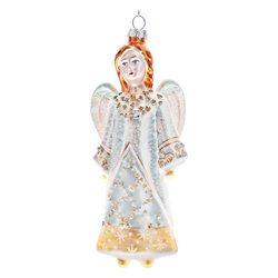 Ozdoba Baňka anděl zdobený, 7x4x16 cm, sklo