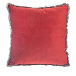 Polštář Semi červený s třásněmi okolo, 45x45 cm, t