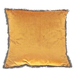 Polštář Semi žlutý s třásněmi okolo, 45x45 cm, tex