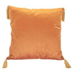 Polštář Semi oranžový s třásněmi v rozích, 45x45 c