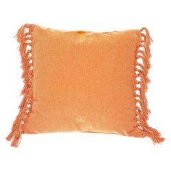 Polštář Zakar oranžový s třásněmi po stranách, 45x
