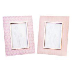 Fotorámeček růžový, 17x2x22 cm, dřevo, sklo