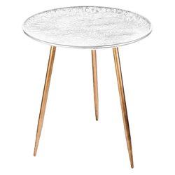 Stolek bílý s krajkovým vzorem, 45x45x50 cm, kov