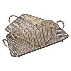 Tác kovový hranatý, set 2 ks, 52x33x11 cm, kov