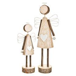 Anděl se srdcem na podstavci, 37x13x8 cm, dřevo, k