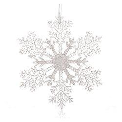 Vánoční ozdoba vločka dělená, čirá 20x20x0,5 cm, p