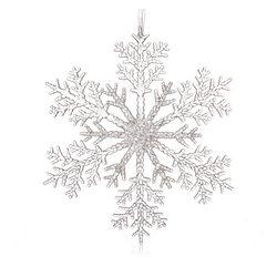 Vánoční ozdoba vločka dělená, čirá 25x25x0,5 cm, p