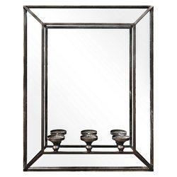 Zrcadlo se svícnem na 3 svíčky, 51x9x66 cm, kov, s