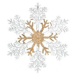 Ozdoba Akryl vločka zlato-čirá, 0.5x26x26 cm, plas