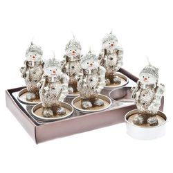 Svíčka čaj. sněhulák s punčochou, set 6 ks, 14x9x8