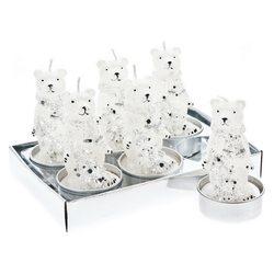 Svíčka čaj. medvěd bílostříbrný se stromkem, set 6
