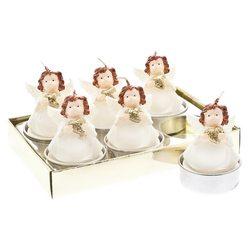 Svíčka čaj. anděl bílý se zlatou hvězdou, set 6 ks