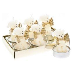 Svíčka čaj. medvěd bílozlatý se stromkem, set 6 ks