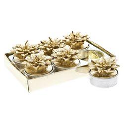 Svíčka čaj. vánoční hvězda zlatá, set 6 ks, 14x9x4