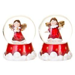 Sněžítko s andělem na mráčku červené, 4 dr., 5x5x6