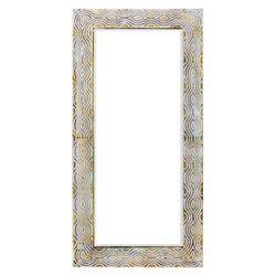 Zrcadlo hranaté zlaté se vzorem vlnek, 70x5x140 cm