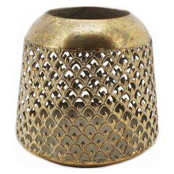Lucerna zlatá vzor šupiny, velká, 17,5cm, kov