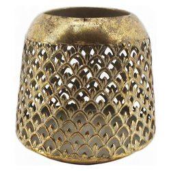 Lucerna zlatá vzor šupiny, střední, 14,5cm, kov