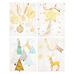Papírová taška vánoční, mix 4. zlatých motivů, stř