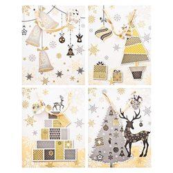 Papírová taška vánoční, mix 4.šedo-zlatých motivů,