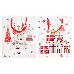 Papírová taška s červeným motivem stromku a dárků,