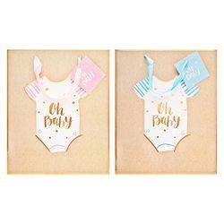 Papírová taška přírodní,OH BABY, s růžovou a modro