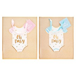 Papírová taška přírodní,OH BABY,s růžovou a modrou