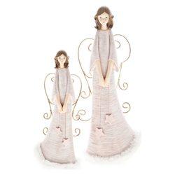 Anděl růžový se závěsnými křídly,velký,12x10x30 cm