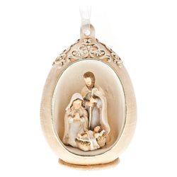 Vajíčko s Josefem a Marií uvnitř, LED, 6x7x10 cm,p