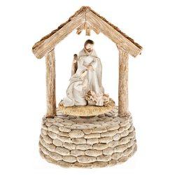 Josef s Marií, točící se betlém s melodií,11x17 cm