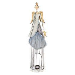 Kovový svícen anděl s drátěnou sukní a hvězdou, mo
