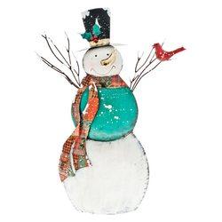 Kovový sněhulák s ptáčkem