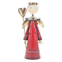 Kovový anděl červený se svatozáří a zlatým srdcem